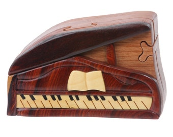 Handcrafted Wooden Musical Instrument Secret Jewelry Puzzle Box - Piano(WH028)