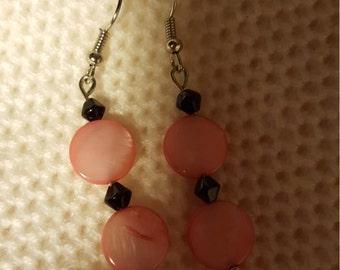 lovely pink black earring