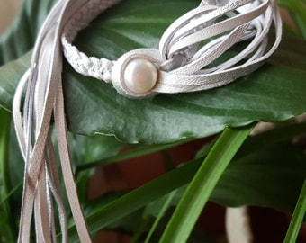 Bracelet ,White Pearl Blacelet,Leather bracelet,Perfect gift,