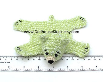 Dollhouse Miniature Knitted Bear Skin Rug - Light Green - Limited Edition