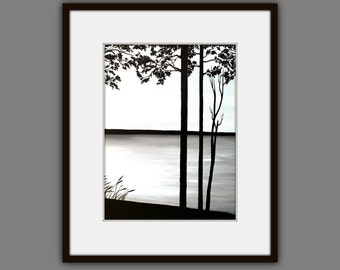 Fine Art Prints, Contemporary art, Landscape Painting, Modern Art, Wall Art, Black and White Painting