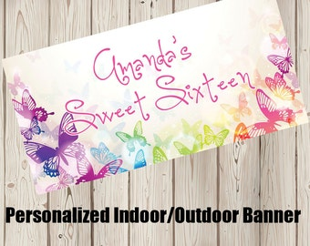 "18""x36"" Butterfly Kisses Personalized Party Banner"