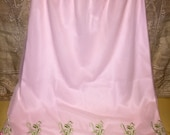 Vintage Pink Womens Slip Size Small with Embroidered Flamingo Border