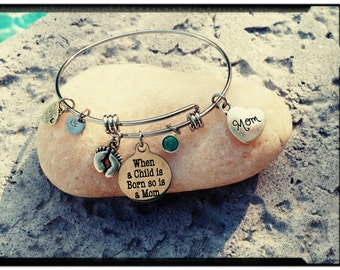 NEW MOM - Stainless Steel Charm Bangle with Stainless Message Charm & Heart - Swarovski Crystal Birthstones - New Mom Gift/Baby Shower Gift
