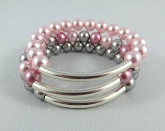 Swarovski Glass Pearls Elasctic Bangles