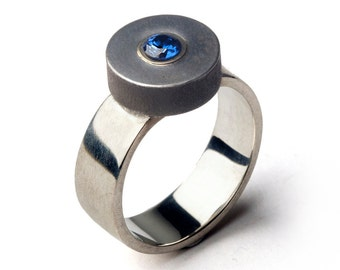 ZEN Blue Sapphire Ring, Minimal Ring, Unique Sterling Silver Ring, Iron Ring, Geometric Ring, Contemporary Ring, Statement Ring