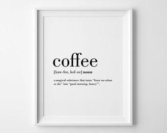 Coffee poster etsy for Bureau word origin