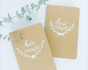 Personalized Wedding Vow Booklets, His and Her Vows Booklets, Laurel Design