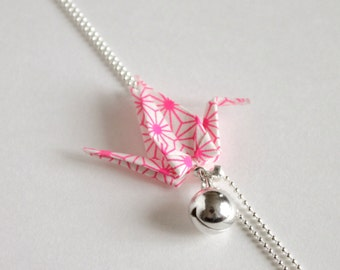 origami, long necklace sautoir bird folded paper, pattern Japanese colours