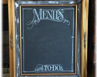 Framed Chalkboard, Large French Gold Leaf Framed 16 x 20 Handlettered Chalkboard, Art Menu Board Menus and To-Dos, Kitchen Décor, OOAK