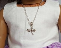 "18"" Girl Doll Dragonfly Necklace, -American Doll  One Size Metal Necklace, Alligator Clasp"