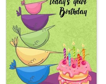 Bird, Bird Birthday Card, A Little Bird Told Me | today's your birthday, bird birthday card
