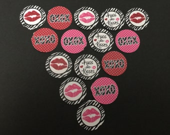XOXO Hugs And Kisses Buttons Set of 15