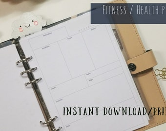 Printable - Health and Fitness Exercise Log Planner Inserts for A5 Filofax / Large Kikki-K - Instant Download