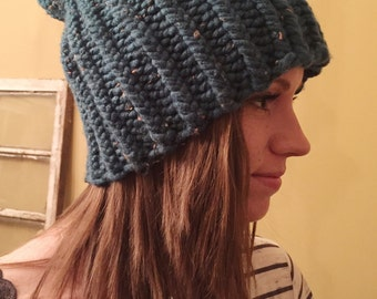 Teal Tweed Chunky Knit Slouchy Hat