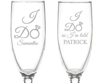 I Do as I'm Told Engraved Wedding Toasting Flutes (PPD2023)
