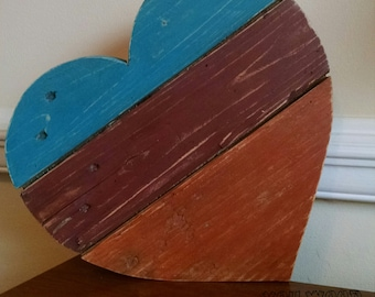 Tri-Colored Heart Hand-Painted Reclaimed Wooden Sign
