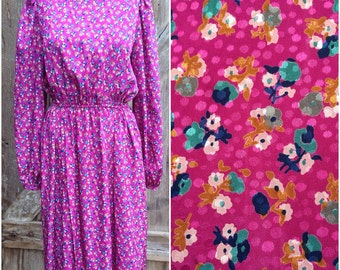 pink floral secretary dress, hippie boho dress, gypsy dress, cocktail party dress, 70s secretary dress, 80s floral dress, day dress