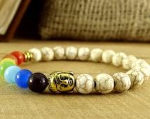 Seven Chakras Buddha Bracelet Chakra Healing Stones Bracelet Tibetan Jewelry Gift Ideas Cat's Eye Chakra Bracelet Ethnic Jewelry Buddha