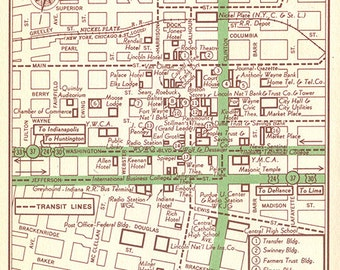 Fort wayne city map Etsy