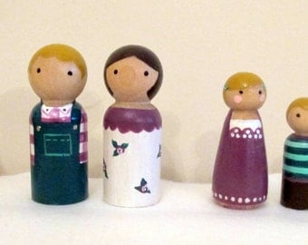 Personalised Peg Doll Family Members and Pets - Custom made to order