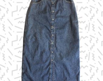 Gap Button Front Denim Maxi Skirt