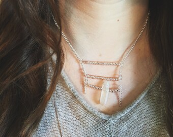 rose gold stacked bar necklace