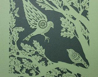 Bird papercut - Sparrows in Oak Tree - print from an original handmade art work.