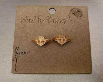Yoda Earrings - Wood Laser Cut Earrings