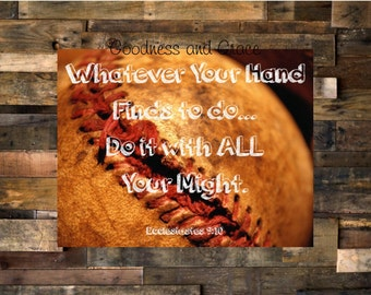Baseball Bible Verse Image - Wall Art for Home Decor or Gift - Boy's Room Baseball Print - Hands Find to Do ... Do It With all Your Might