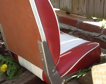 Vintage red and white boat seat