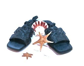 Women's SESTO MEUCCI 1980's Women's 9.5 M Navy blue woven Leather designer sandals