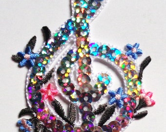 sequin G cleft silver iron on patch applique