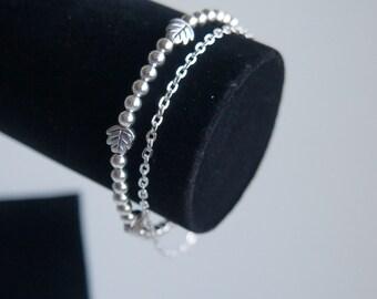 Silver plated beads bracelet, Chain bracelet, beads bracelet, antic silver bracelet