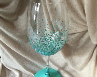 PERSONALIZED hand painted wine glass