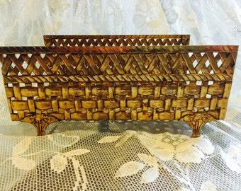Gold Woven Metal Basket/Box, Vintage Basket Weave Metal Towel Holder