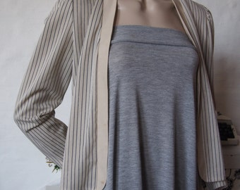 Blue and grey striped autumn jacket (S-M)
