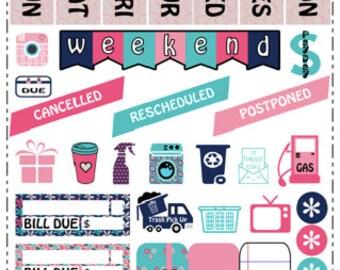 Pink & Navy Happy Planner Sticker Kit
