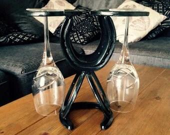 Horseshoe Wine Glass and Wine Bottle Holder