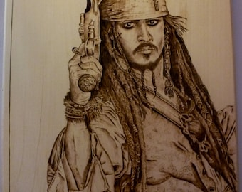 "Jack Sparrow Pyrography - Basswood Wood Burning Art - 13.5"" x 10.5"""