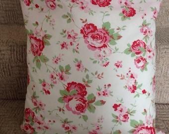 Handmade Cath Kidston Rosali White Floral Cushion Cover (40x40cm) With Cushion Insert