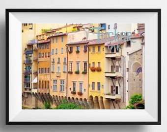 Italian Living - Florence, Italy {ponte vecchio houses photo print wall art decor gift flowers windows}