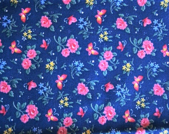 """1 Yd Blue with Pink Medium Print Calico Cotton Quilting Fabric 36"""" X 45"""" Roses Butterflies"""