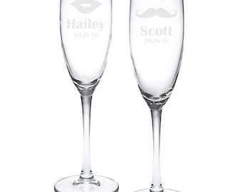 Personalized Mustache and Lips Toasting Flutes (MICPMLETF52)