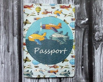 Vintage Cute Airplane Passport cover - HQ leather - Free Shipping