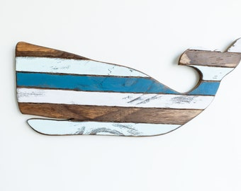 Wooden Whale Decor Striped Whale Sign Nautical Decor Wall Decor Coastal Signs