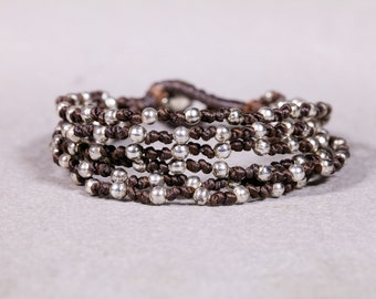 Brown bracelet-  Woven bracelet with silver beads- Beaded bracelet- B57