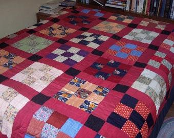 Vintage quilt, red patchwork, floral
