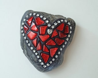 Love rocks! Red Glass Mosaic tiles with Rhinestones on a Stone