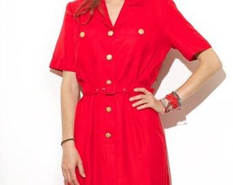 Vintage 80s belted dress / fancy buttons